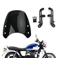 Plastique ABS Pare-Brise Saute-Vent pour Triumph Bonneville T100 T120 Noir A