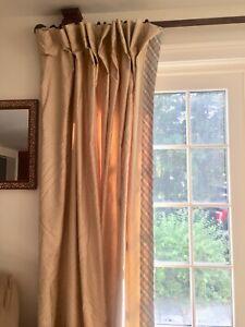 "2 Pairs Custom Lined Drapes Curtains Panel 29""x93"" Tan Paisley Blue Plaid"