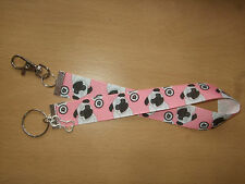 Handmade Pug Dog Bag Key Finder Charm Long Fob Ring Keyring Puppy Bone Pink