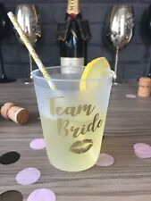 Hen Party Accessories Cups - Team Bride - Pack of 10 frosted transparent & Gold