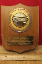 Vtg 1955 United Airlines 100,000 mile club award plaque trophy Air lines nice