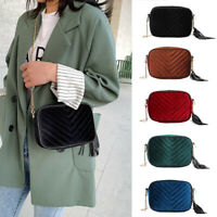 Fashion Women Shoulder Messenger Bag Chain Velvet Elegant Tassel Crossbody Bags