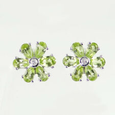 Sterling Silver Peridot and Diamond Cluster Earrings