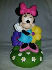 """Minnie Mouse Flowers Vinyl Plastic Coin Bank Disney 10"""" Tall multicolored."""