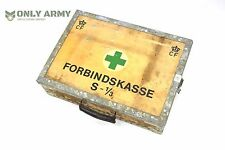 Vintage Danish Army First Aid / Medic Box Wooden Tool Box Wood Storage Military