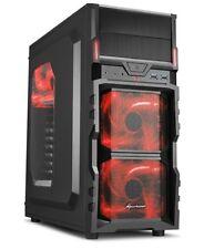 Sharkoon PC Computer Gehäuse VG5-W ATX Midi Tower schwarz/rot 2x USB 3.0