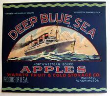 1930s Steam Ocean Liner Deep Blue Sea Crate Label