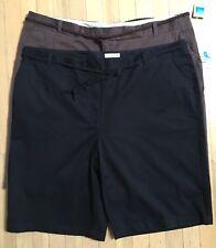 2 NWT COVINGTON Women's Bermuda Walking Shorts Black & Brown Size 22 W