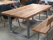 Esstisch 2579 Wildeiche massiv geölt Massivholztisch mit Baumkante Gestell Metal