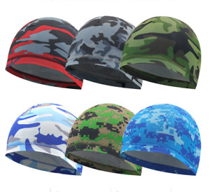 Dome Cap Wicking Helmet Liner Cycling Football Biker Camo Camouflage Beanie Hat