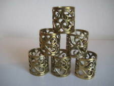 Brass Ornate Filigree Scroll Napkin Rings Set of 6
