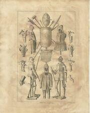 Stampa Antica Armatura Attrezzatura Cavalli e Scudi N. C. Goodnight  1784