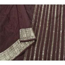 Sanskriti Vintage Indian Sari Brown 100% Pure Silk Sarees Woven Brocade Fabric