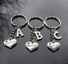 Personalised Initial Thank You Keyring with Heart & Silver Plated Letter