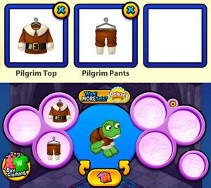 2010 Webkinz 2-pc THANKSGIVING BASKET Outfit: Pilgrim Top & Pilgrim Pants