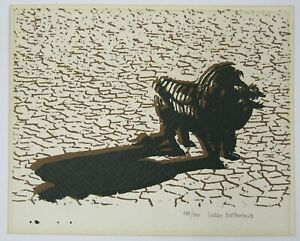 Signed Sergio Bustamante (b.1949) serigraph print modernist high contrast lion