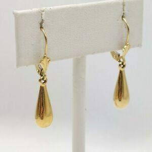 """14K Yellow Gold - Hollow Tear Drop Earrings - 1"""" Long - 1 Gram"""