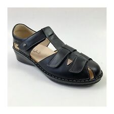 Black Leather Finn Comfort Sandals