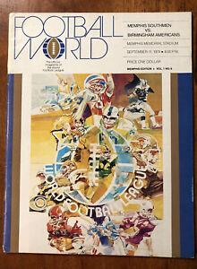 RARE 1974 WFL Program Memphis Southmen vs Birmingham Americans