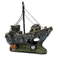 Resin Fishing Boat Aquarium Ornament Decoration For Fish Tank Craft Gift