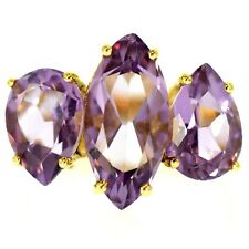 5 CT AMETHYST COCKTAIL RING YELLOW GOLD NATURAL PURPLE MARQUISE PEAR CUT SIZE 7