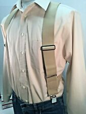 "New, Men's, Khaki, XL, 2"", Adj.  Side Clip Suspenders, Made in the USA"