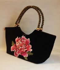 Medusa Black Velour Purse Pink Flower Floral Embroidery Gold Bronze Trim Handbag