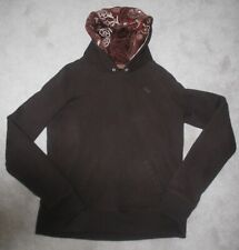 Women's Abercrombie Ezra Fitch Brown Sequin Hoodie Pullover Sweatshirt Top XL