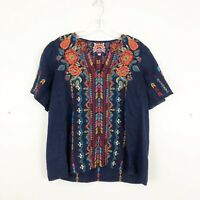 Johnny Was Ornella Flutter Sleeve Blouse Embroidered Linen Size XS $215 Retail
