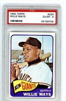1965 Topps #250 Willie Mays PSA 6 EX-MT San Francisco Giants Baseball Card Sharp