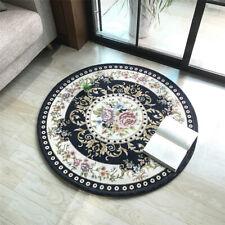 Round Jacquard Floral Area Rug Anti-slip Home Living Room Carpet Floor Mat