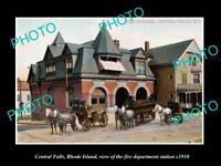 OLD LARGE HISTORIC PHOTO OF CENTRAL FALLS RHODE ISLAND, THE FIRE STATION c1910