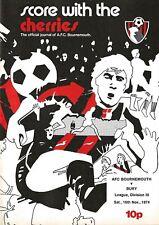 Football Programme>AFC BOURNEMOUTH v BURY Nov 1974