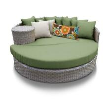 Monterey Circular Sun Bed - Outdoor Wicker Patio Furniture in Cilantro