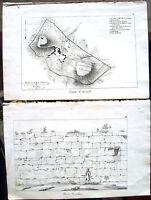 1830 PIANTA DI FIESOLE E MURA FIESOLANE ARCHEOLOGIA