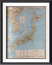 Japan Korea Vintage Map c1960 Original Perfect For Framing - m1