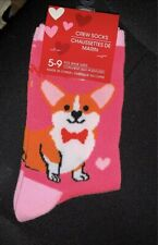 New Corgi Dog Pink Socks Hearts Valentine's Day