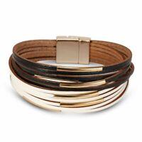 Fashion Multilayer Punk Leather Wrap Braided Wristband Magnetic Bracelet Bangle