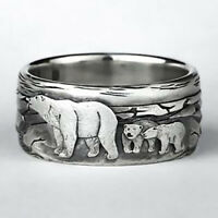 Vintage 925 Silver Women Cute Bear Animal Ring  Wedding Jewelry Gift Size 5-10