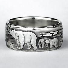 Vintage 925 Silver Women Cute Bear Animal Ring  Wedding Jewelry Gift Size 5-10