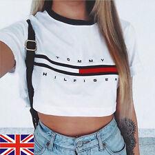 Womens Loose Pullover T Shirt Short Sleeve Cotton Tops Shirt Colloge Blouse Crop