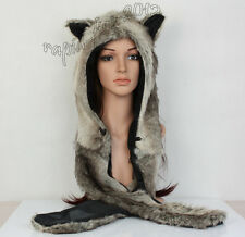 Brown Wolf  Full Hood Hoodie Hat Mittens Glove w/ Button 3 IN 1 Function Gift