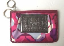 COACH Poppy Wallet ID Card Case Coin Keychain Purse Hot Pink