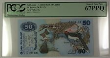1979 Sri Lanka Central Bank of Ceylon 50 Rupees Note SCWPM# 87a PCGS 67 PPQ