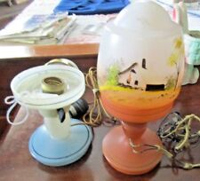 Vintage Czech Glass Boudoir Lamp Hand Painted Dome Mushroom Shade Extra Base