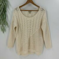 Lucky Brand Womens Pullover Cream Sweater Size XL Cable Knit Crochet Wool Cotton