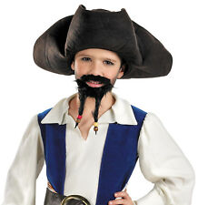 Child Boys Pirate of Carribean Jack Sparrow Hat Moustache and Goatee Accessory