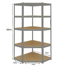 Heavy Duty Boltless Grey Shelving CORNER Racking Garage Warehouse Workshop Shed