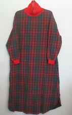 Vintage LL Bean Flannel Red, Green, and Blue Night Gown, Size L
