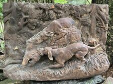 Antique Black Forest Wood Carving Hunting Dogs Boar German Wall Hanging #1